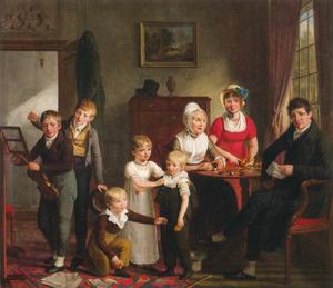 Portret van Gerrit van Haarst (1764-1629) met zijn gezin en zijn moeder Wilhelmina Krüger (1737-....)