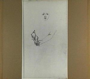 Vrouwenkop en een arm met brief