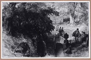 Gezelschap in gesprek in een parklandschap