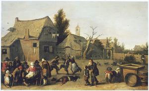 Invaliden en gewonden op een boerenerf