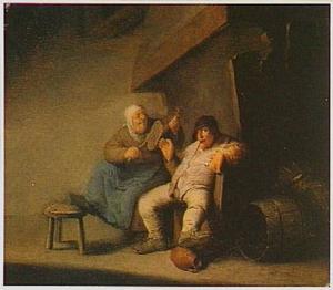 Boerenpaar in een interieur