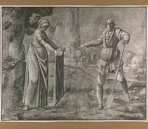 Man met spade en vrouw die een zak leegschudt, in een landschap (volkslegende?)
