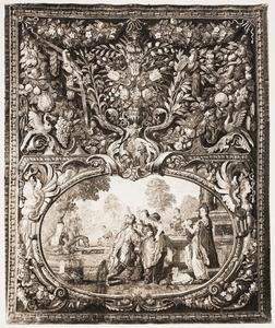 Eliëzer en Rebekka in een cartouche en een decoratieve vaas met bloemen