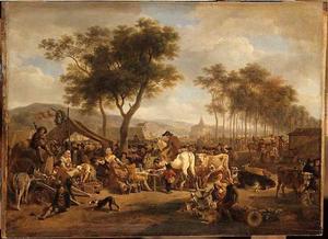 Markttafereel bij de ingang van een dorp