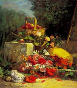 Bloemen en vruchten in een tuin