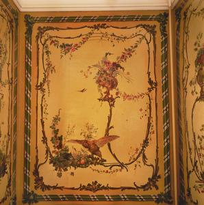 Rocaille-ornamenten met dieren en bloemen- en vruchtenstillevens