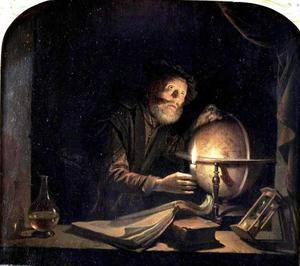 Astronoom bij kaarslicht