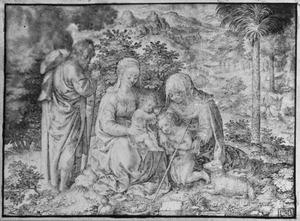 H. familie met H. Elizabeth en het kind Johannes de Doper in landschap