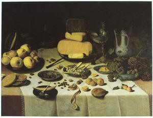 Rijk stilleven met kaas en fruit