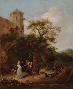 Landschap met een zigeunerin die een vrouw de hand leest