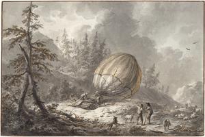 Landing van een hete luchtballon (het element Lucht)