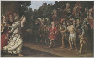 Jefta wordt begroet door zijn dochter; hij scheurt zich in wanhoop de klederen  (Richteren 11:34)