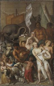 Deel van de triomfstoet, met bloemenstrooiende vrouwen en een olifant