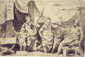 Allegorische voorstelling met de schikgodinnen Lachesis en Atropos