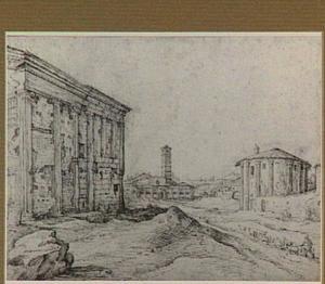Rome, Piazza Bocca della Verità (Forum Boarium), met van links naar rechts de tempel der Fortuna Virilis, de kerk van Santa Maria in Cosmedin en de tempel van Hercules Victor (Santo Stefano delle Carrozze; voorheen geïdentificeerd als Vestatempel)