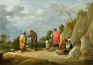 Vier zigeunerinnen met kind waarvan één een boer de waarheid voorspelt