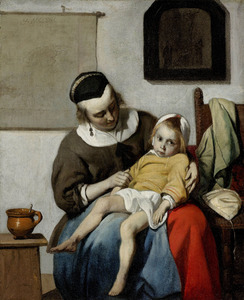 Vrouw met een kind op schoot (Het zieke kind)
