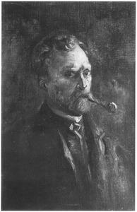 Zelfportret met pijp naar rechts