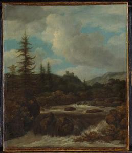 Landschap met een waterval bij een kasteel