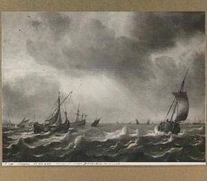 De haringvloot op een woelige zee