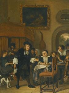 Interieurscene waarin muziek wordt gemaakt en een man een glas wijn aan een dame vrouw aanbiedt