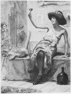 Een schildersmodel in een atelier terwijl zij een dronk uitbrengt