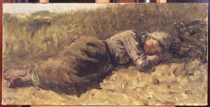 Slapend meisje in de duinen