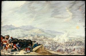 Kanonniers schietend vanaf een heuvel op een veldslag in een dal
