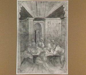 Interieur met figuren aan een tafel
