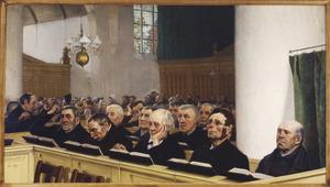 Dienst in de kerk met mannen uit het Onderwatershof: voorste bank van rechts naar links: Broekman, Piet van Es, De Hey, Jan van Veen, Groen
