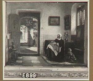 Een zeventiende eeuws interieur met een vrouw en kind