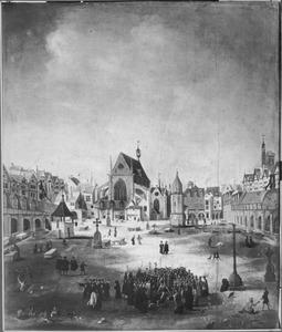 L'église et cimetière des Saints-Innocents, Parijs, omstreeks het midden van de 16de eeuw