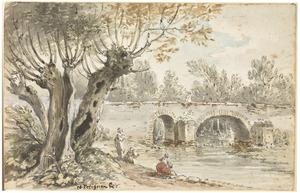 Vrouwen die de was doen bij een brug