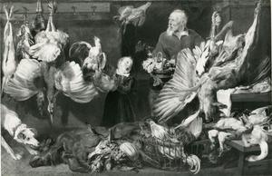 Marktkoopman en jongen met jachtbuit en gevogelte