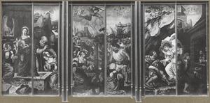 Het mystieke huwelijk van de H. Catharina; de doop van de H. Catharina; de vernieling van het martelrad van de H. Catharina; de onthoofding van de H. Catharina; de verschijning van de engel aan de H. Rochus; de gevangenschap van de H. Rochus
