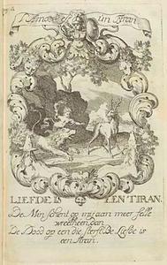 Allegorische voorstelling met amor, een leeuw en een hert, in een cartouche