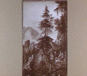 Berglandschap met drie figuren op een weg