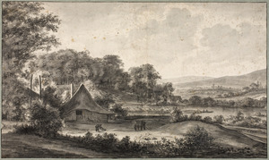 Heuvelachtig rivierlandschap met boerderij