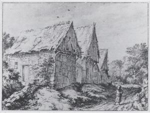 Drie oude huisjes langs een landweg (Bentheim?)