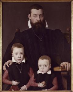 Portret van Adriaan van Santvoort (1526-1581) en zijn zonen Guillaume (1559-....) en Adriaen (1560-....)