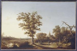 Landschap met schaapherder, reizger met ezel, in de verte een kerkgebouw