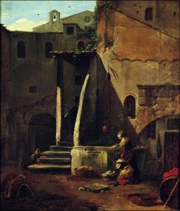 Binnenplaats met wasvrouwen bij een waterput