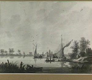 Gezicht op een meer met vissersboten