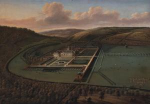 Gezicht op Hampton Court Castle (Herefordshire) vanuit het zuidoosten in vogelpespectief
