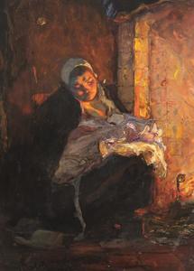 Interieur met een oude vissersvrouw