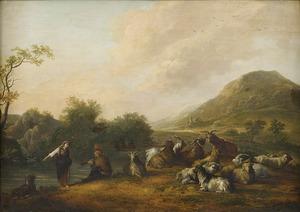 Rivierlandschap met herders en hun geiten en bokken