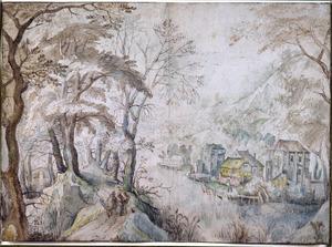 Boomrijk berglandschap met zicht op een dorp aan een rivier