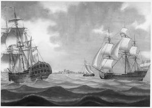 Het retourschip 'Popkensburg' van de Kamer Middelburg van de VOC in Zeeuwse wateren