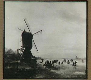 Winterlandschap met molen en schaatsers