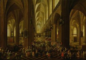 Interieur van de Onze-Lieve-Vrouwe-Kathedraal in Antwerpen met de ontvangst van aartshertog Leopold Wilhelm